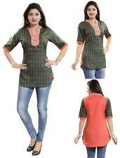 Women Indian Short Kurti Tunic Kurta Shirt Dress Rayon Cotton Printed Top MM218