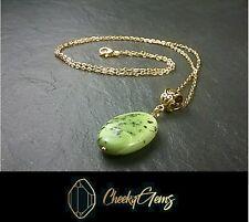 Ladies Natural Green jasper Healing Gemstone Pendant Reiki Necklace UK Seller