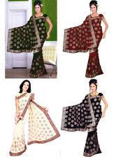Wholesale Job Lot of 3 Saree Wedding Bollywood Sequin Embroidery Sari Indian S3