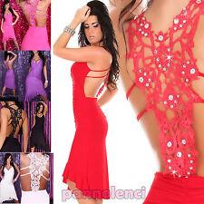 Mini abito RICAMO strass schiena nuda vestitino donna vestito dress kleid SAK20