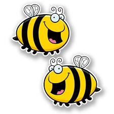 2 x 10cm Happy Honey Bee Sticker Car Bike Laptop Helmet Roller Derby Wasp #5898