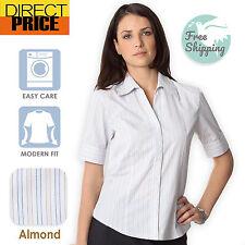 Ladies Shirt Blouse Business Blouse Womens Office Wear Formal almond/blue Short