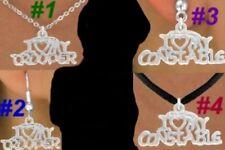 Love TROOPER CONSTABLE Necklace Earring Police Office Cop Deputy Sheriff Jewelry