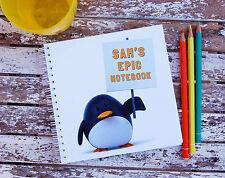Pingüino Personalizado Cuaderno Infantil Niña Niño Idea Regalo Varios Tamaños