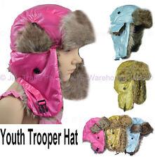 Faux Fur Ear Warmer Flap Winter Skiing Russian Rain Proof Hat  Kids Teen Trooper