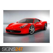 FERRARI 458 ITALIA SUPERCAR (0618) Car Poster - Poster Print Art A0 A1 A2 A3 A4
