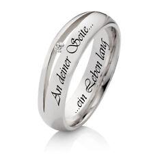 1 Verlobungsring aus 925 Silber mit echtem Diamant und Ihrer Lasergravur SDB10L