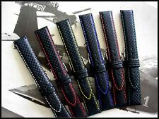 20mm Orange stitch Carbon Fiber Military watch band strap IW SUISSE 18-19-22-24