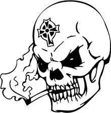 skull head smoking black eye white teeth   VINYL DECAL STICKER 3252 +