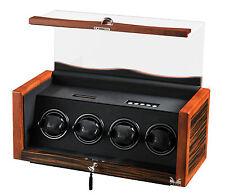 New High Quality VOLTA Ebony / Rosewood Automatic Quad 4 Watch Winder Box