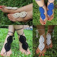 2pcs Boho Crochet Barefoot Sandals Pair Beach Anklet Wedding Bridal Summer Wrap