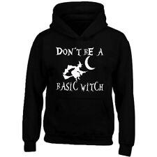 WHITE Logo Don't Be Basic Witch Unisex HOODIE Halloween Hoodie Halloween Boo
