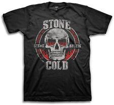 Mens Graphic Tee Steve Austin Stone Cold Skull Adult T-shirt Size M, L