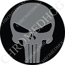 Premium Round 3M Epoxy Gel Domed Decal or Flat Sticker - Gray Punisher Skull Blk