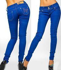 Sexy Miss Ladies Butterfly Jeans Pants Butterfly Rhinestone Low Cut XS 32