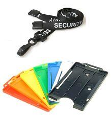 Black Pre Printed SECURITY Plastic Clip Lanyard & Single Card Portrait Holder