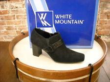 White Mountain Maddie Black Moleskin Buckle Shootie Shoe NEW