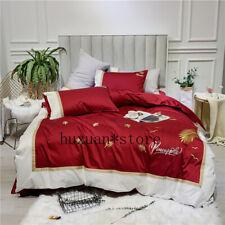 Luxury Egypt Cotton Golden Leaf Bedding Set Embroidery Duvet Cover Set Bed Sheet