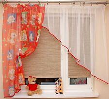 Wunderschöne farbige Gardine weiß rot orange 350/160 Baby Kinderzimmer Neu Eu