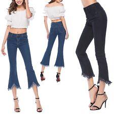 Jeans Donna Pantaloni Alla Caviglia Zampa Cropped Woman Denim Jeans JEA011 P