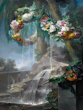 SPRING FLOWING GARLANDS OF FLOWERS M. Abril Tile Mural Backsplash Marble Ceramic