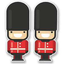 2 x 10cm London Queen's Guard Soldier Vinyl Sticker England UK Travel Gift #6641