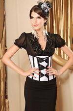 Sexy Women's White With Black Bow Underbust Corset + G-string Basque Burlesque
