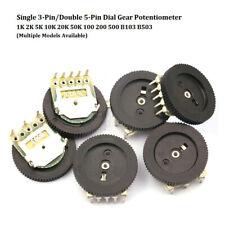 Single/Double Dial Gear Potentiometer 1K 2K 5K 10K 20K 50K 100 200 500 B103 B503