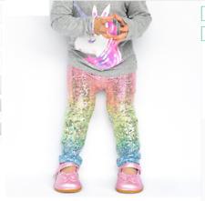 Toddlers Girls Sequin Leggings Kids Rainbow Unicorn Glittering Rainbow Skinny