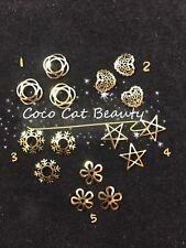 50 pcs New 3D Nail Art Gold Metal Alloy Stud Charm Decorations