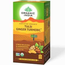 Organic India Herbal Tulsi Ginger Turmeric Tea (25 Tea Bags) Stress Relieving