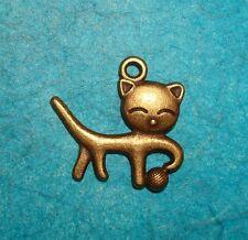 Pendant Cat Charm Bronze Plated Animal Charm Kitty Cat Kitten Charm Feline Vet
