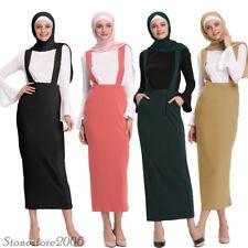 Women High Waist Stretch Slim Long Maxi Bodycon Pencil Suspender Skirt Muslim