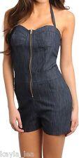 Blue Stretch Denim Zip Front Shorts Romper/Jumper/Cat Suit 1 Piece S/M/L