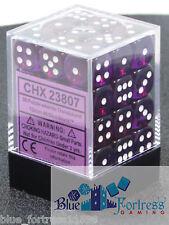 CHESSEX TRANSLUCENT 12mm 36 D6 PURPLE & WHITE DICE WoW WARHAMMER MTG POKEMON