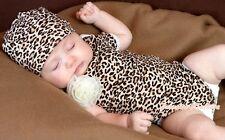Infant Toddler Newborn Baby Leopard Print Hoodie Jumpsuit Romper Hat 2PC NB-12M