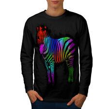Wild arco iris cebra Hombre Manga Larga wellcoda Camiseta Nuevo |