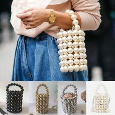 Gigi Hadid Handmade Pearl Beaded Top Handle Bucket Mini Tote Bag Handbag Comino