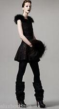 SALE 80% DESIGNER Natural SILVER FOX FUR Muff Ruched Silk Bag Purse HAT in STORE
