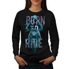 Wellcoda Born to Ride Metal Womens Sweatshirt, Motorcycle Casual Pullover Jumper