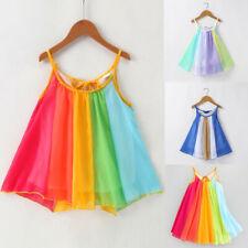 Toddler Kids Baby Girls Princess Clothes Sleeveless Chiffon Tutu Rainbow Dresses