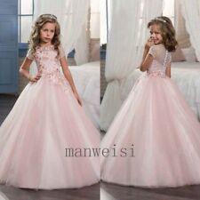Pink Short Sleeve A-line Applique Princess Flower Girl Dress Party Long Gowns