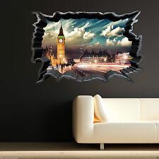 Couleur Complète Big Ben Londres Fissuré Art Mural Autocollant Décalco Transfert