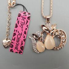 Betsey Johnson Crystal Opal Double & Triple Owl Cat & Fox Necklace