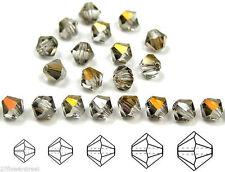 Czech MC Glass Bicone Beads (Rondell/Diamond) Crystal Valentinite metallic coat