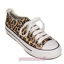 Scarpe donna ginnastica leopardato animalier sneakers basse sport nuove 105-5C
