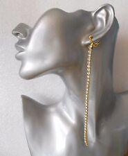 "Gorgeous 6"" Long Single Row Diamante Earrings -  Pierced or Clip-on"