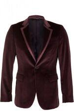 Men's Party Wear Maroon One Button Velvet Tuxedo Blazer Jacket Notch Collar