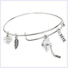 Qina C. Sterling Silver Graduation Feather Charm Adjustable Wire Bangle Bracelet