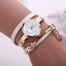 Fashion Women Leather Stainless Steel Bracelet Quartz Dress Wrist Watch Relogios